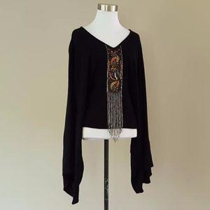 Diane Gilman DG2 Bead Fringe Front Black Sweater